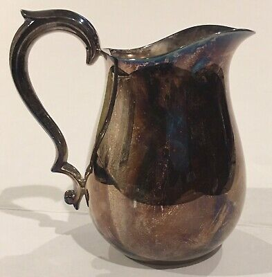"""Reed & Barton 968 Silverplate Handled Water Pitcher 6"""" Tall Made In USA"""