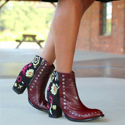 National Color Mix Wind Rivet Embroidery Flower Nude Boots Gladiator Side Zipper