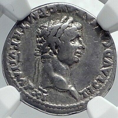 CLAUDIUS Very Rare DENARIUS Authentic Ancient 46AD Silver Roman Coin NGC i81778