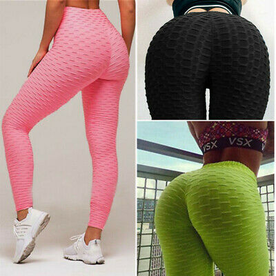 Womens Push Up Leggings Anti Cellulite Yoga Pants Sports Ruched Scrunch Trousers