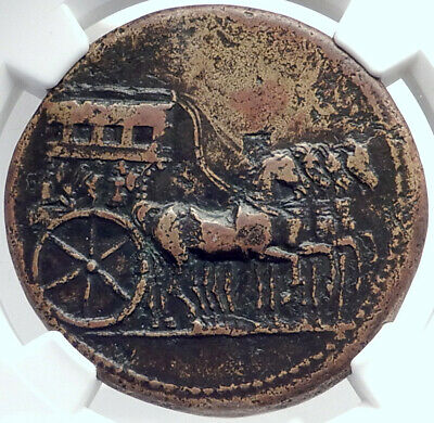TIBERIUS Authentic Ancient 36AD Rome Sestertius Roman Coin QUADRIGA NGC i81780