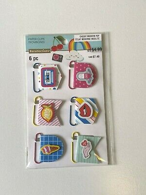 """Recollections """"Cheeky Modern Pop""""  6Pc Paper Clips"""