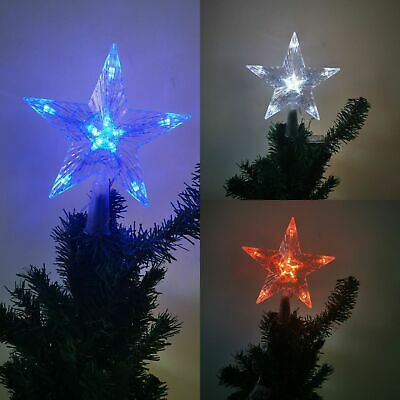 XMAS Christmas Tree LED Star Tree Topper Ornament Battery Operated Xmas Treetop