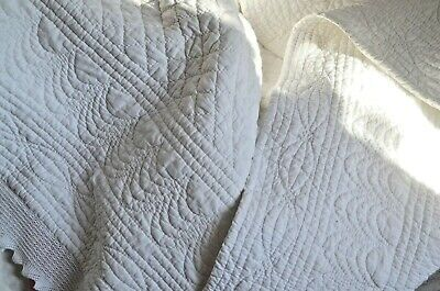 Exceptional antique French white hand quilted Provencal quilt, boutis, pique