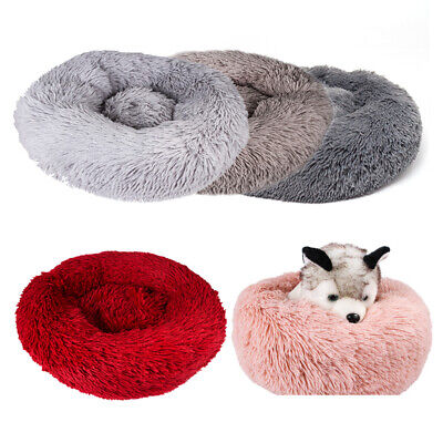 Comfy Calming Dog Cat Bed Round Super Soft Plush Pet Bed Marshmallow Cat Bed