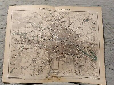 Map - Berlin & Surrounds - Antique Book Page - c.1885 - German Text
