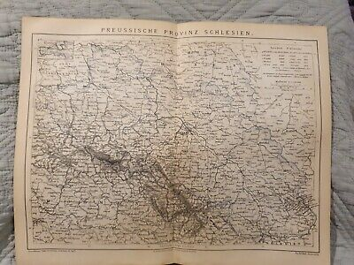Map - Prussian Province Silesia - Antique Book Page - c.1885 - German Text