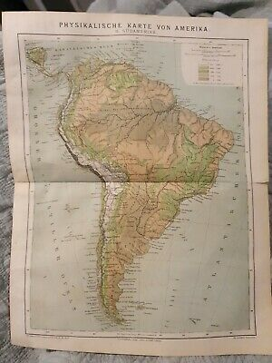 Physical Map of South America - Antique Book Page - c.1885 - German Text