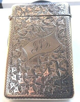 Victorian Sterling Silver Decorative Card Case Full Hallmarks