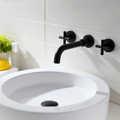 Solid Brass Bath Basin Sink Faucet Mixer Tap Wall Mounted Brushed Gold,Black UK