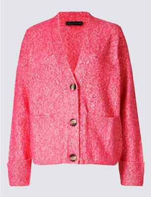Fa M Ou S High St Women/'s Cotton Rich Fluffy Textured Maxi Cardigan RRP £39.50