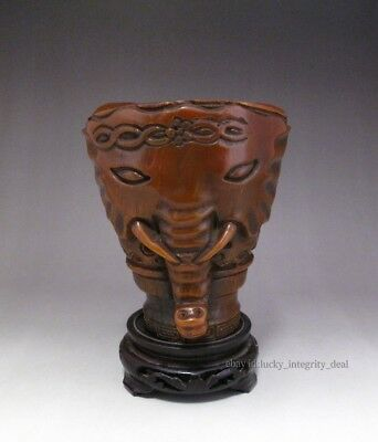 Old Chinese Rhinoceros horns Hand Carved big Cup