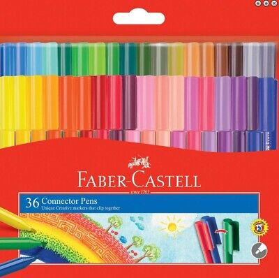 Faber Castell 36 Colouring Texters Texta Connector Pens Art Drawing Colour Gift
