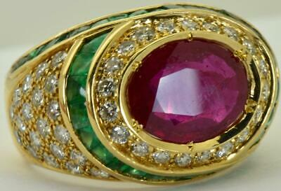 ONE OF A KIND Art-Deco Lacloche 1.8ct Diamonds,2.6ct Ruby&2.9ct Emeralds ring