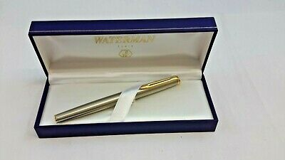 Waterman Hemisphere Stainless Steel Fountain Pen With Gold Trim             #Ci#