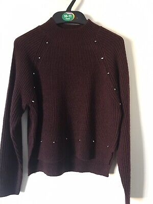 BNWOT New Look Knitted Burgandy Studded Jumper. Girls. Age 9 - 15 Years.