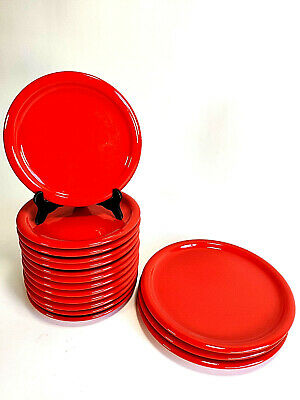 Vintage West Germany Waechtersbach Red 3 Dinner 13 Salad Plates EUC!