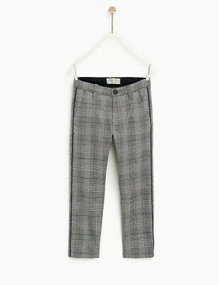Zara Boys Formal Grey Checkered Trousers Size 7 Years Old