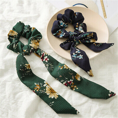 Floral Print Women Knotted Scrunchie Elastic Bow Scarf Hair Rope Ponytail Holder