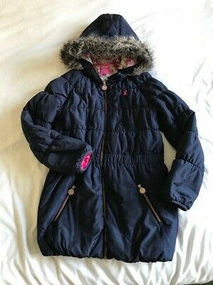 Joules Girls winter padded coat Navy blue with faux fur hood. Age 11-12