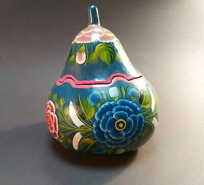 ANTIQUE Hand Painted Floral Garden Gourd Container Box Carved With Lid Folk Art