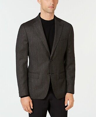 $550 Dkny Men's 40L Brown Slim Fit Wool Diamond Blazer Sport Coat Suit Jacket