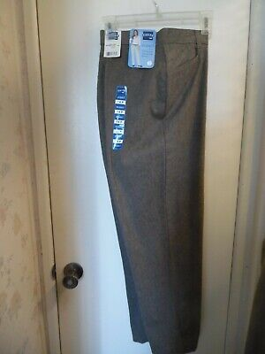 """NWT Lee Jeans Riders """"Eased Fit"""" Flat Front Casual Slacks, Brown 14 Petite"""