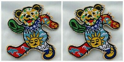 2 x Peace Grooving Dancing Bear Patch Iron on Sew On Applique Grateful Dead 7cm