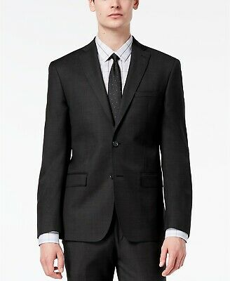 $669 Dkny Men's 42R Black Wool Modern-Fit 2-Button Blazer Suit Jacket Sport Coat