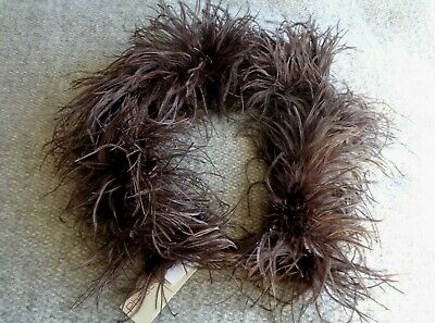 NEW Dark Brown Ostrich Feather Boa /collar scarf Vintage 1920s Style - RRP £30