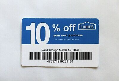 10: Lowe's Blue Card 10% Off For Home Depot + Other Comp Not Lowe's Exp 03/15/20