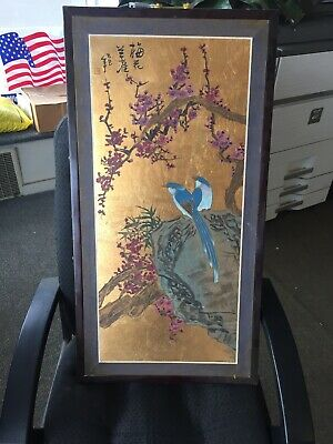 ANTIQUE Vintage CHINESE ASIAN HAND PAINTED PANEL WALL HANGING Pair Of Birds