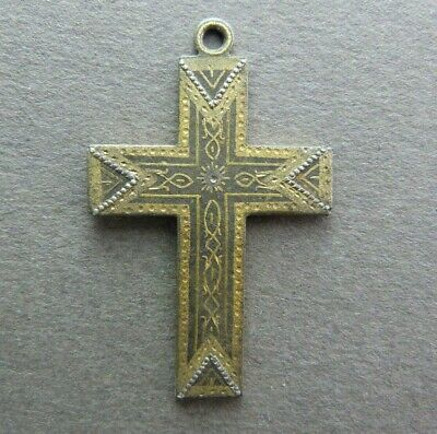 French Antique Brass Religious Cross Crucifix with Metal Inlays