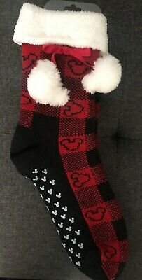 Disney Parks 2019 Christmas Holiday Plaid Fuzzy Plush Socks New With Tags