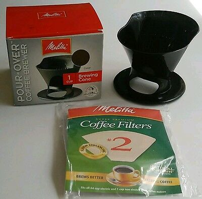 +Melitta Pour Over Coffee Brewer Black 1 Cup Drip Cone Uses #2 Filters NIP!