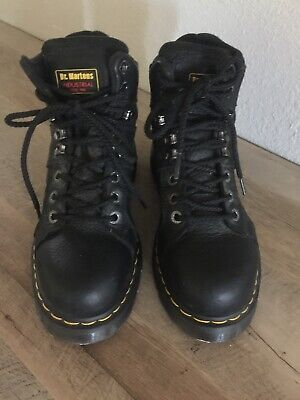 Doc Dr.Martens Safety Steel Toe Black Leather Ankle Work Boots Womens Sz.8 US