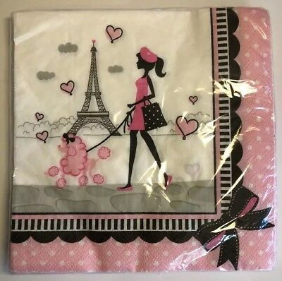Party In Paris 13th Birthday Paper Lunch Napkins x 18 Eiffel Tower//Poodle