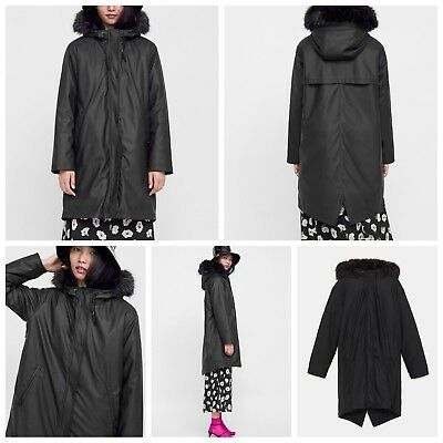 NEW ZARA AW18 Black Textured Puffer Raincoat Ref 3046227