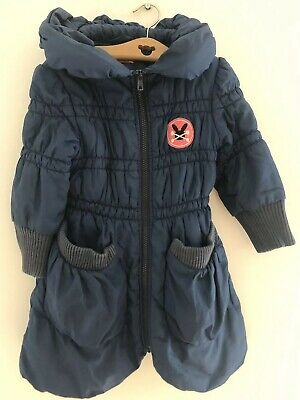 NO ADDED SUGAR Girls Blue Quilted Padded Coat Jacket Age 4