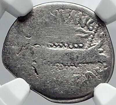 MARK ANTONY Cleopatra Lover 32BC Ancient Silver Roman Coin LEGION XX NGC i81796