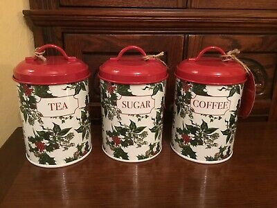 Portmeirion The Holly And The Ivy Cannisters X 3 Tea Sugar Coffee New