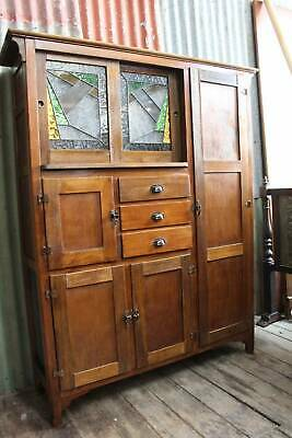 A Cottage Kitchen Oak Dresser Leadlight Cabinet c.1930's - Meat Safe