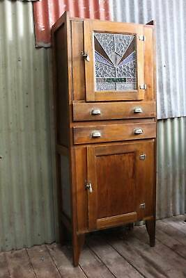 An Art Deco  Kitchen Leadlight Cabinet c.1930's - Cottage Dresser - Meat Safe
