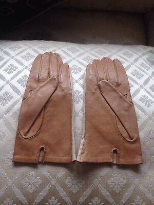 Unworn Retro Ladies Bicoloured Unlined Leather Gloves Small Size 6