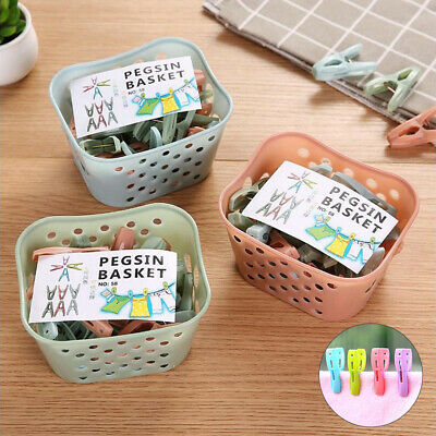30Pcs Windproof Clothes Home Laundry Clothespin Drying Clips with Storage Basket