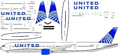 United new 2019 Airbus A320 Airliner Decal 1:200 scale for Hasegawa  kit