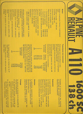 Catalogue  Alpine Renault A 110 1600 Sc 138 Ch
