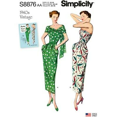 Simplicity Sewing Pattern S8876 Misses 20W-28W Dress and Stole Vintage 1940's