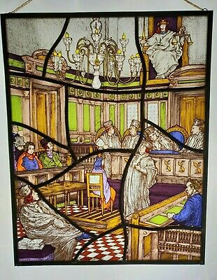 Vintage Leaded Stained Glass Window Panel Courtroom Scene Lady Justice E/0372