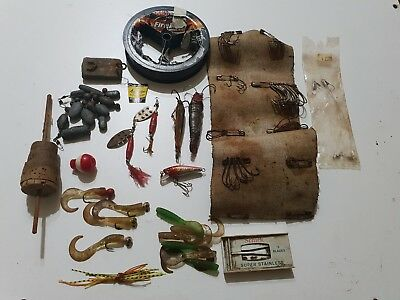 Mixed Vintage Fishing Gear, spinners, jags, hooks, sinkers, antique, collectable